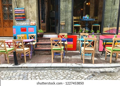 Colorful cafes of Balat which is a historic neighbourhood of Istanbul located on the shore of Golden Horn.