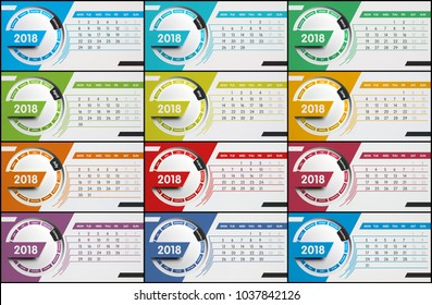 Colorful calendar with all 12 months of the year 2018, 3d illustration