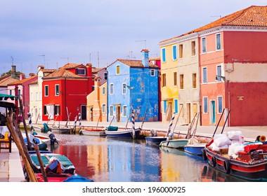 Colorful canal, Burano island, Venice, Italy