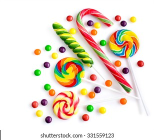 Colorful candies isolated over white