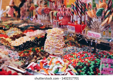 Colorful candies like lollipops and sugar necklaces