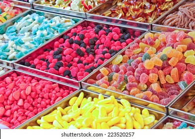Colorful candies on a market