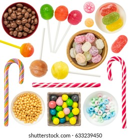 Colorful Candies and Sweets Isolated on White Background. Contain: candies, sweets, lollipop,fruit candies, jelly candies,chocolate sweets, candy cane, etc.