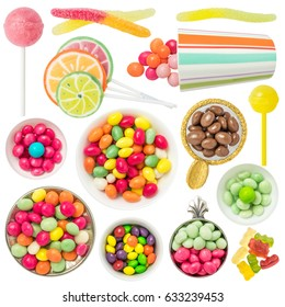 Colorful Candies and Sweets Isolated on White Background. Contain: candies, sweets, lollipop, fruit candies, jelly candies, gummy balls, gummy bears etc.