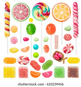 Colorful Candies and Sweets Isolated on White Background. Contain: candies, sweets, lollipop, turkish delight,fruit candies, jelly candies, gummy balls, etc.