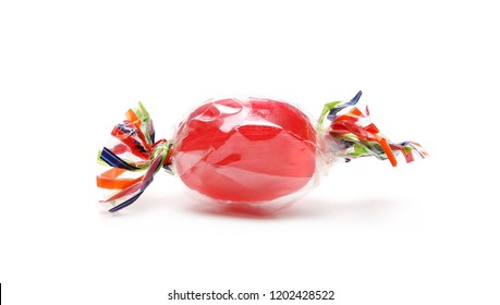 Colorful candies with transparent cellophane wrapping isolated on white background