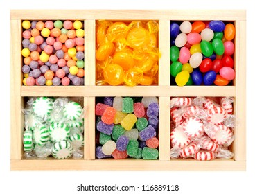 a lot of colorful candies in tray