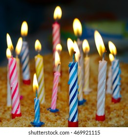 Colorful Candles on a birthday cake