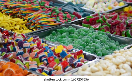 a colorful candy choice in a market stand