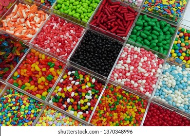 A colorful candy display of a stall at the Machane Yehuda market in Jerusalem.