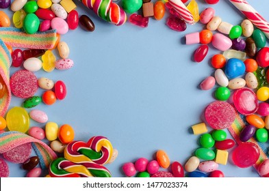 A lot of colorful candy and marmalade