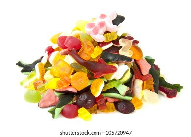 Colorful candy on a pile isolated over white