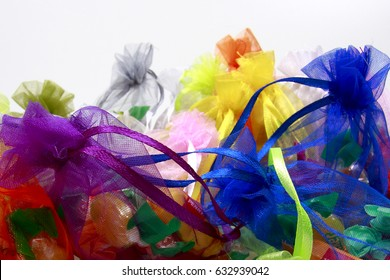 Colorful candy wrapped in colored bags