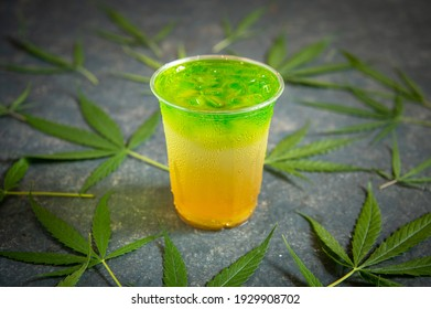 colorful cannabis drink with cannabis leaf