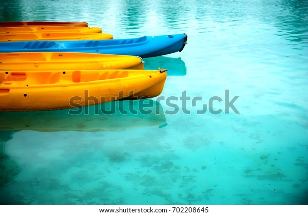 Colorful canoe on ther water