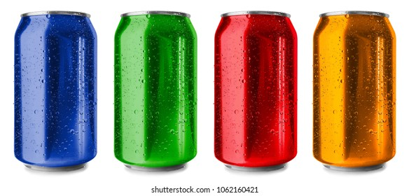 Colorful cans on white background
