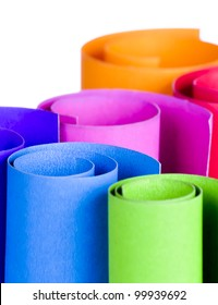 Colorful card stock in unique circular shapes  for decorating in the living room