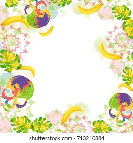 Colorful card summer design. Creative background with ethnic stars, skulls, bananas, palm leaves and watercolor effect.