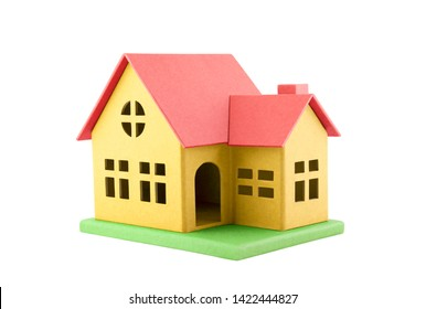 Colorful cardboard toy house isolated on white with clipping path