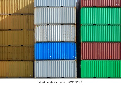Colorful cargo container in a harbor