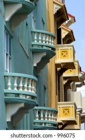 Colorful Caribbean balconies