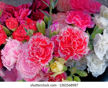 colorful carnation flowers bouquet top view, soft and airy natural background
