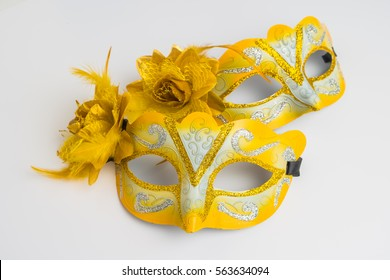 Colorful carnival mask on white background.