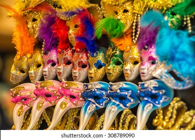 Colorful carnival masks on the market in Venice, Italy.