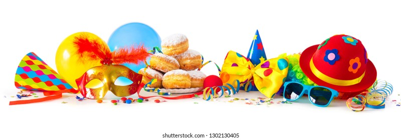 Colorful carnival or party background with donuts, balloons, streamers and confetti and funny face formed from wig, hat and eyeglasses isolated on white
