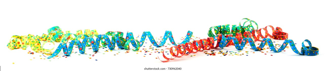 Colorful carnival ribbons with confetti against white background