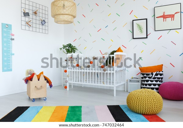 Colorful Carpet Bright Kids Bedroom Wooden Stock Photo (Edit Now ...
