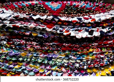 Colorful carpet , samples of different colors carpets / door mat