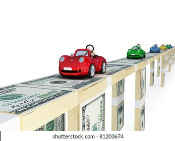 Colorful cars driving on a bridge made of money. 3d rendered. Isolated on white background.
