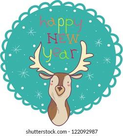 Colorful cartoon deer Happy new year greetings card