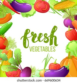 Colorful cartoon frame of vegetables with pumpkin, corn, tomato, pepper, eggplant, beetroot. Fresh vegetarian natural food.