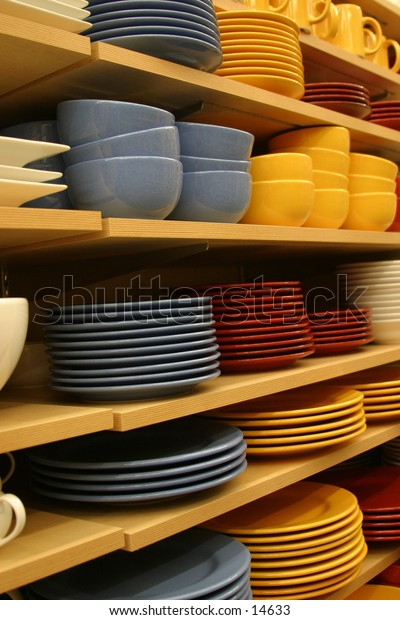 colorful casual dinnerware on shelves