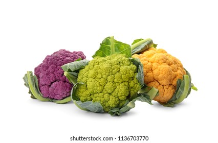 Colorful cauliflower cabbages on white background. Healthy food