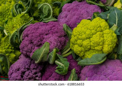 Colorful Cauliflowers: They are purple, light green, sometimes orange or yellow, and some of them have pointed florets.