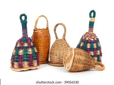 Colorful caxixi shakers, traditional Afro-Brazilian musical instruments.