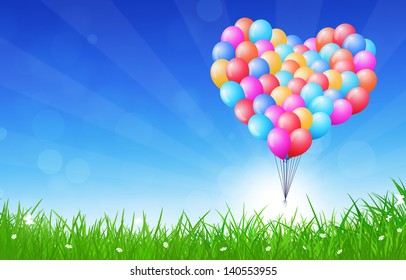 colorful celebration background with heart shaped balloons flying in the air