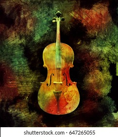 Colorful cello isolated on a pictorial background