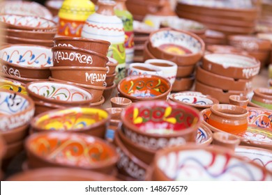 Colorful Ceramic Bowls at the market in Paguera, Mallorca