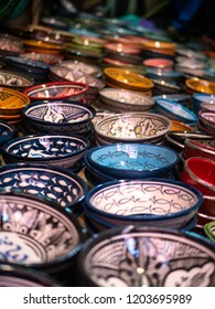Colorful ceramic bowls on a market in Marrakesh, Morocco