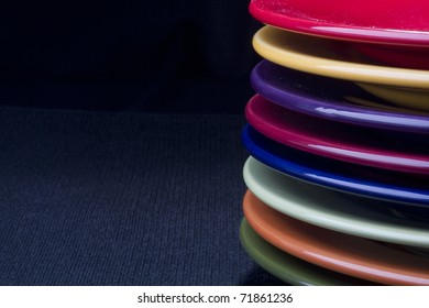 Colorful ceramic plates for the main dishes.