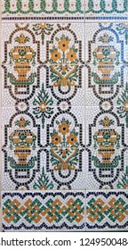 Colorful ceramic tiled wall finish in village in Andalusia