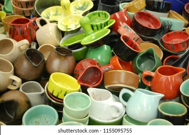 a lot of colorful ceramic ware. background