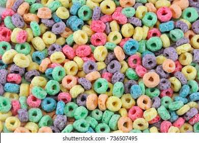Colorful cereal loop rings, breakfast food background