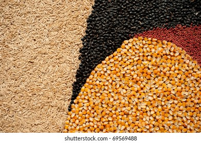 Colorful cereal seeds background. Abstract  background