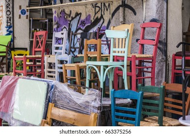 Colorful chairs at furniture shop, photo was taken in Athens, Greece