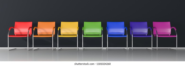 Colorful chairs on dark background - wide banner 3D render